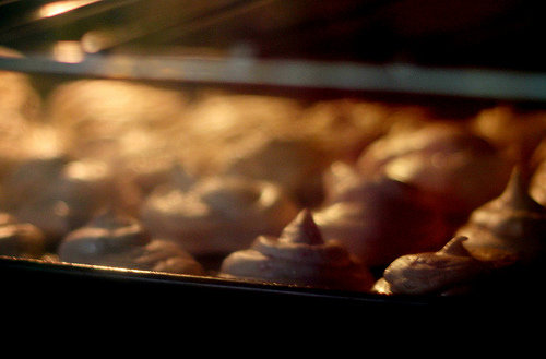 Assorted Meringues Cooling in the Oven
