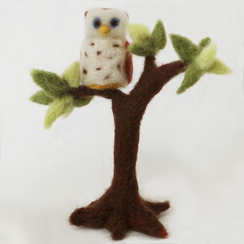 Needle-Felted Owl & Tree