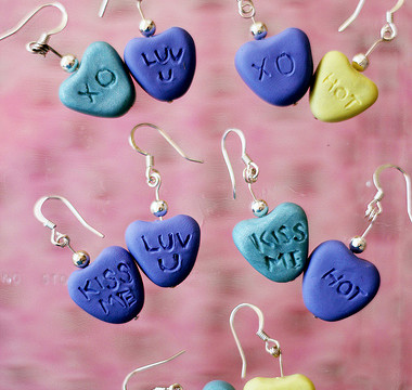 Making Candy Heart Earrings from Clay