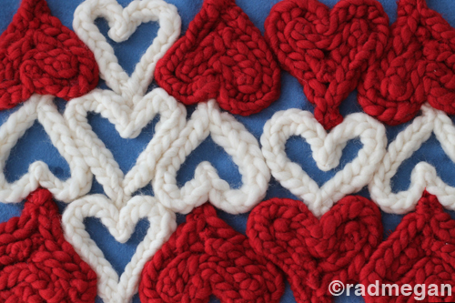 Knitting Fork Projects: 5 Easy Projects Using Knitted Hearts by Radmegan