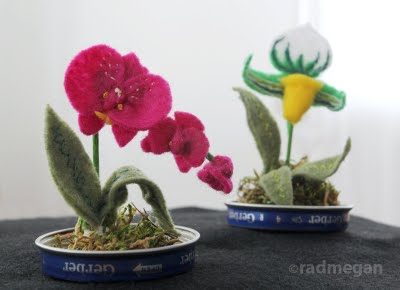 Felt Orchids in Baby Food Jar Terrariums (part 2)