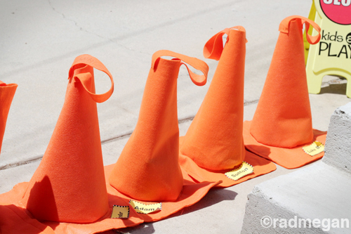 Traffic Cone Goodie Bags for a Truck Party