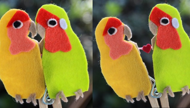 Valentine's Day Gift: Lovebird Clothespin Puppet
