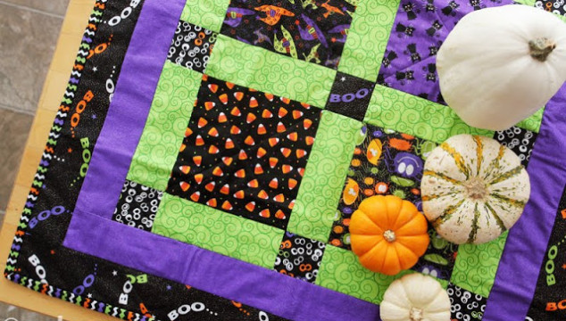 Quilted Halloween Table-Topper… by my Mom!!
