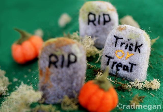 A Spooky Craft Class Needle Felted Headstones Radmegan