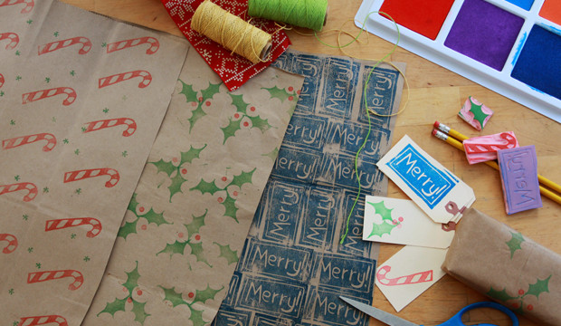 Carving Rubber Stamps for DIY Wrapping Paper