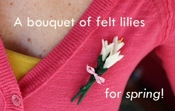 Felt Lily Brooch for CreativeLive