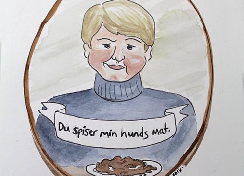 Duolingo Inspired Painting: Du Spiser Min Hunds Mat